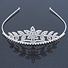 Statement Bridal/ Wedding/ Prom Rhodium Plated Austrian Crystal Floral Tiara