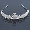 Bridal/ Wedding/ Prom Rhodium Plated Faux Pearl, Crystal Classic Tiara