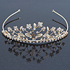 Delicate Bridal/ Wedding/ Prom Gold Plated Austrian Crystal Floral Tiara
