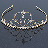 Bridal/ Wedding/ Prom Gold Plated Austrian Crystal Triple Heart Tiara
