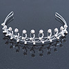 Bridal/ Wedding/ Prom Rhodium Plated Clear Crystal, White Simulated Pearl Floral Tiara Headband