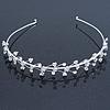 Bridal/ Wedding/ Prom Rhodium Plated Clear Crystal Floral Tiara Headband