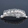 Bridal/ Wedding/ Prom/ Party Rhodium Plated Austrian Crystal Flower & Simulated Pearl Hair Comb/ Tiara - 9cm