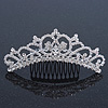 Bridal/ Wedding/ Prom/ Party Rhodium Plated Swarovski Crystal Hair Comb/ Tiara - 12.5cm