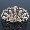 Bridal/ Wedding/ Prom/ Party Gold Plated Swarovski Crystal, Simulated Pearl Hair Comb/ Tiara - 9.5cm