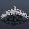 Bridal/ Wedding/ Prom/ Party Rhodium Plated  Swarovski Crystal Hair Comb Tiara - 11cm