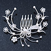 Bridal/ Wedding/ Prom/ Party Rhodium Plated Clear Austrian Crystal/ Simulated Pearl Floral Hair Comb - 75mm