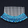 Rhodium Plated Blue/AB Gradient Swarovski Crystal Hair Comb - 60mm