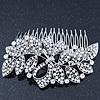 Statement Bridal/ Wedding/ Prom/ Party Rhodium Plated Clear Swarovski Sculptured Bow&Leaf Crystal Side Hair Comb - 11.5cm Width