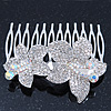 Bridal/ Wedding/ Prom/ Party Rhodium Plated Clear/AB Swarovski Crystal Floral Hair Comb - 70mm