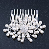 Bridal/ Wedding/ Prom/ Party Rhodium Plated Cluster White Simulated Pearl Bead and Swarovski Crystal Hair Comb - 80mm