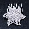 'Shining Star' Rhodium Plated Clear Swarovski Crystal Mini Hair Comb - 45mm