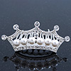 Fairy Princess Bridal/ Wedding/ Prom/ Party Rhodium Plated Austrian Crystal and White Simulated Pearl Mini Hair Comb Tiara - 60mm