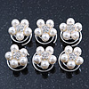 Bridal/ Wedding/ Prom/ Party Set Of 6 Rhodium Plated Crystal Simulated Pearl Floral Spiral Twist Hair Pins