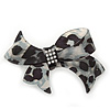 Large Animal Pattern Acrylic Crystal Bow Barrette Hair Clip Grip - 95mm Across