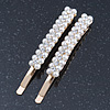 2 Bridal/ Prom Wide Crystal, Simulated Pearl Hair Grips/ Slides In Gold Plating - 60mm Across