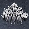 Bridal/ Wedding/ Prom/ Party Rhodium Plated Clear Crystal, White Simulated Glass Pearl Asymmetrical Hair Comb - 95mm