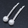2 Bridal/ Prom Crystal, Simulated Pearl 'Daisy Flower' Hair Grips/ Slides In Rhodium Plating - 60mm Across