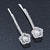 2 Bridal/ Prom Crystal, Simulated Pearl 'Filigree Flower' Hair Grips/ Slides In Rhodium Plating - 55mm Across