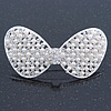 Bridal Wedding Prom Silver Tone Simulated Pearl Diamante 'Classic Bow' Barrette Hair Clip Grip - 65mm Across