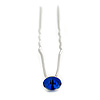 Bridal/ Wedding/ Prom/ Party Single Sapphire Blue Crystal Hair Pin In Silver Tone - 70mm L