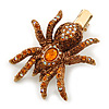Amber/ Topaz Coloured Austrian Crystal Spider Hair Beak Clip/ Concord Clip In Antiique Gold Plating - 55mm L