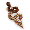 Champagne/ Topaz/ Ab Coloured Austrian Crystal Snake Hair Beak Clip/ Concord Clip In Antiique Gold Plating - 65mm L