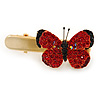 Red/ Black Austrian Crystal Butterfly Hair Beak Clip/ Concord Clip In Gold Tone - 37mm L