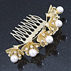 Bridal/ Wedding/ Prom/ Party Gold Plated Clear Austrian Crystal, Glass Pearl Lily Hair Comb - 100mm