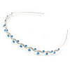 Bridal/ Wedding/ Prom Rhodium Plated Clear/ Sky Blue Crystal Tiara Headband