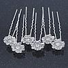 Bridal/ Wedding/ Prom/ Party Set Of 6 Clear Austrian Crystal Daisy Flower Hair Pins In Silver Tone