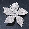 Bridal/ Prom/ Wedding/ Party Rhodium Plated Clear Austrian Crystal Daisy Flower Side Hair Comb - 7cm Width
