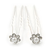 Bridal/ Wedding/ Prom/ Party Set Of 2 Clear Crystal, Pearl Daisy Flower Hair Pins In Silver Tone