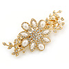 Gold Tone, Clear Crystal Floral Barrette Hair Clip Grip - 80mm Across