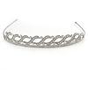 Bridal/ Wedding/ Prom Rhodium Plated Clear Crystal Braided Tiara Headband