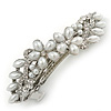 Bridal Wedding Prom Silver Tone Glass Pearl, Crystal Floral Barrette Hair Clip Grip - 85mm W