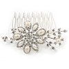 Bridal/ Wedding/ Prom/ Party Rhodium Plated Clear Austrian Crystal, Glass Pearl Floral Hair Comb - 80mm