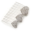 Bridal/ Wedding/ Prom/ Party Silver Tone Clear Austrian Crystal 3 Hearts Side Hair Comb - 60mm
