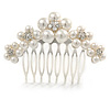 Medium Bridal/ Prom/ Wedding/ Party Rhodium Plated White Glass Pearl, Clear Austrian Crystal Side Hair Comb - 60mm