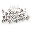 Bridal/ Wedding/ Prom/ Party Rhodium Plated Clear Austrian Crystal Glass Pearl Floral Side Hair Comb - 75mm