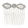 Mini Bridal/ Prom/ Party White Glass Pearl Crystal Flower Hair Comb In Silver Tone - 50mm Across