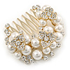 Clear Austrian Crystal, Glass Pearl Floral Side Hair Comb In Antique Gold Tone - 55mm