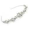 Bridal/ Wedding/ Prom Rhodium Plated Clear Crystal, White Glass Flowers & Leaves Tiara Headband
