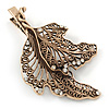 Large Vintage Inspired Clear Crystal Leaf Hair Beak Clip/ Concord Clip/ Clamp Clip In Bronze Tone - 95mm L