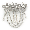 Rhodium Plated Clear Crystal, White Faux Pearl Floral Barrette Hair Clip Grip - 95mm Across
