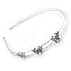 Rhodium Plated Crystal Triple Butterfly Tiara Headband