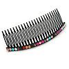 Black Acrylic Multicoloured Crystal Accent Hair Comb - 10cm
