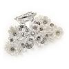 Small Bridal/ Prom/ Wedding Acrylic Flower, Crystal Hair Claw In Silver Tone Metal - 60mm Across