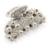 Small Bridal/ Prom/ Wedding Acrylic Flower, Faux Pearl Bead, Crystal Hair Claw In Silver Tone Metal - 60mm Across