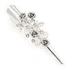 Medium Clear Crystal, Light Grey Rose Floral Hair Beak Clip/ Concord/ Alligator Clip In Silver Tone - 75mm L